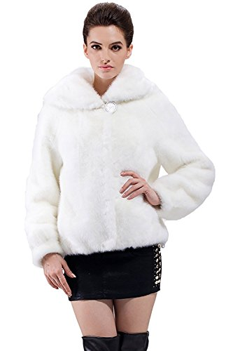 (Adelaqueen Women's Faux Mink Fur Short Jacket Pure White Size L)
