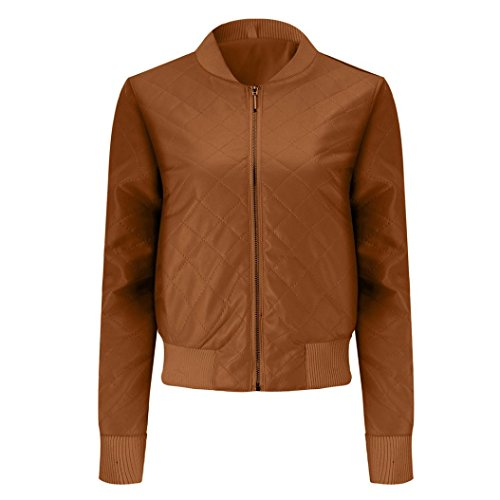 2017Hot!Elevin(TM)Women Fashion Slim Leather Lapel Jacket Top Blouse Jacket Winter Overcoat Coat (Brown, XXL) by Elevin(TM)