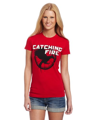 FEA Juniors Hunger Games Logo Catching Fire Tee, Red, Large