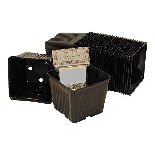NEW! Gage Durapot Bonus Bundle: 25 4-Inch Square Black Plastic Nursery Pots and 20 Mini Seed Envelopes (Square Plastic Recycled)