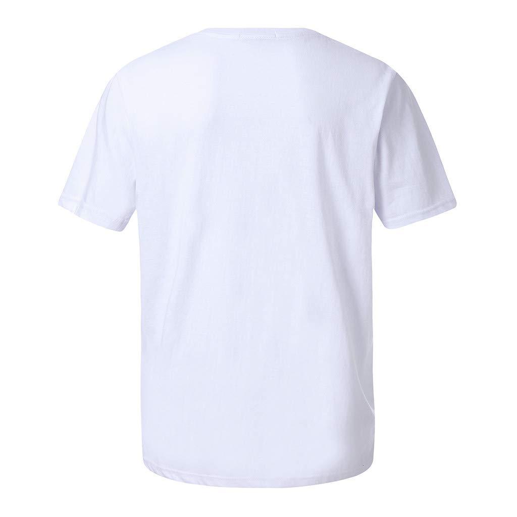 Muyuhan Men Casual Cotton Pattern Print Round Neck Short Sleeve Tops Blouse T Shirt