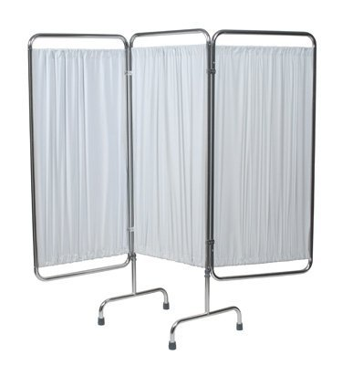 "(Three-Panel Tri Section Folding Medical Privacy Screen, Overall 70.25"" x 79"", White)"