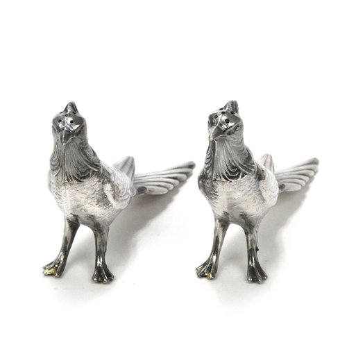 (Salt & Pepper Shakers by W. B. Mfg. Co, Silverplate, Pheasants)