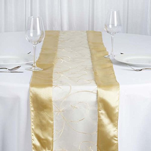 Champagne Organza Embroidered Table Runner