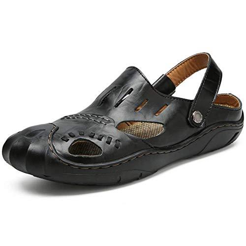 Estate Sandali Uomini Black Del Baotou Dito Scarpe Piede Pantofola 44 Chiuso Vacchetta A Passeggio qRHw0