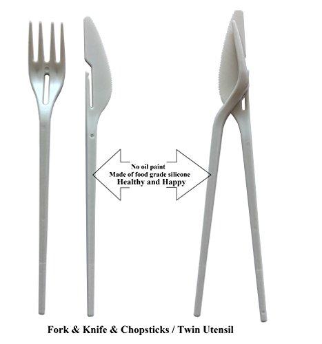(Fun Multifunctional Twin One Utensil combo-Combined type tableware set of knife fork chopsticks, plastic travel cutlery set)