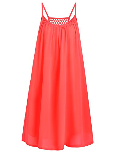 Preferhouse Women's Summer Casual Dress Spaghetti Straps Sundress Hollow Out Back Coral Pink M (Coral Sun)