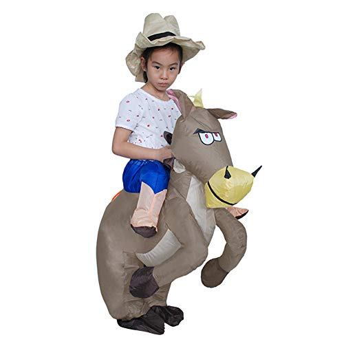 (HADM Inflatable Horse Rider Costume Blow up Cowboy Costume Halloween Costumes for Adults)