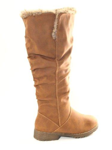 Damen Winter Boots Stiefel warm gefüttert Camel # 682