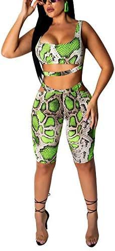 Womens Snakeskin 2 Piece Outfits Sleeveless Crop Top + Hight Waist Bodycon Shorts Jumpsuit Romper