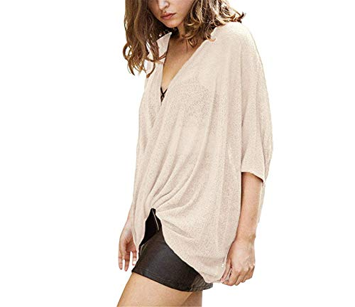 Women Sexy Deep V Neck Cross Over Drape Loose Knitwear Irregular Batwing Sleeve Elegant Blouses,X-Large,Beige by Ahlsengg sweater