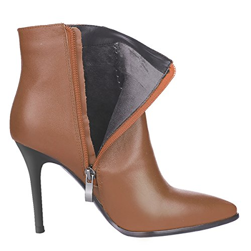 Pointed Classic Heels Toe Leather Ankle Boots Brown Women's High VOCOSI Booties Zipper FzwqYZOq