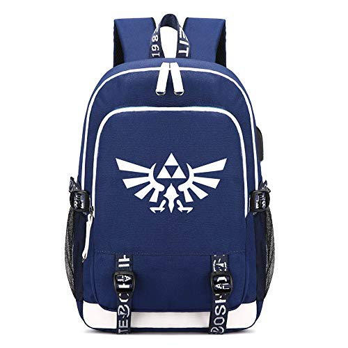 Price comparison product image The Legend of Zelda Breath of the Wild Printing Backpack USB Charging Students Laptop Kids Canvas School Bags Teenagers Travel Daypacks (Blue)