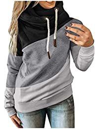 Womens Cowl Neck Color Block Striped Tunic Sweatshirt Drawstring Pullover Long Sleeve Hoodie Casual Tops