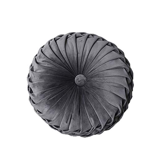 YunNasi Round Pillow Pleated Filled Decorative Cushion Chair Throw Pillow Home for Home Sofa Bed Car Decor (Dark Grey)