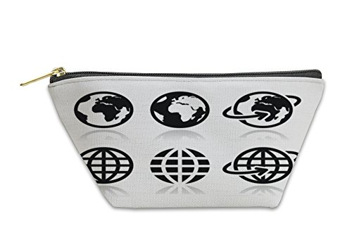 Gear New Accessory Zipper Pouch, Globe Earth Icons Set With Reflection, Small, - Reflections App