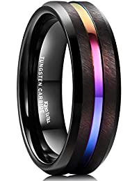 LOOP 8mm Tungsten Carbide Ring Rainbow Color Thin Groove Wedding Band Beveled Edge Comfort Fit
