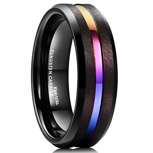 King Will Loop 8mm Tungsten Carbide Ring Rainbow Color Thin Groove Wedding Band Beveled Edge Comfort Fit(11)