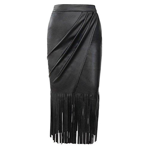YeeATZ Black High Waist Tassels Faux Leather Fringed Skirt(Size,M)