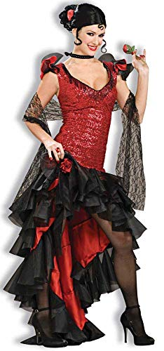 Forum Deluxe Designer Collection Spanish Dancer Costume, Black/Red, X-Large ()