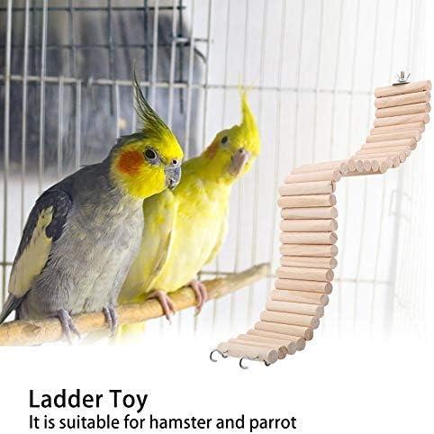 Juguete de escalera de loro, aves de compañía Iridiscente DIY Percha de pie flexible 8 cm de ancho Escaleras de madera divertidas naturales de madera Accesorios para jaulas de mascotas(Marrón S): Amazon.es: