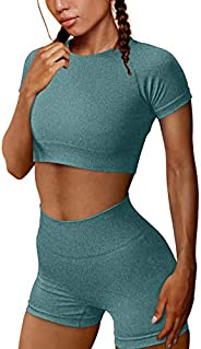 OYS Women's Yoga 2 Piece Outfits Workout Running Crop Top Seamless High Waist Sports Shorts