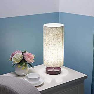 Table Lamp, AL Above Lights Solid Wood Round Beside Desk Lamp with Linen Fabric Shade for Bedroom, Dresser, Living Room, Kids Room, College Dorm, Coffee Table and Bookcase