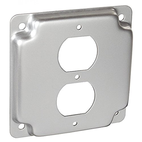 10 Pcs, Steel 4 Square, 1/2 In. Raised Duplex Receptacle Industrial Surface Cover