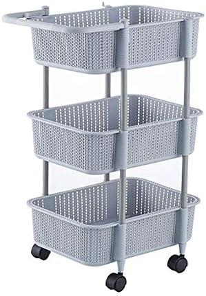 IhDFR ストレージトロリー、ストレージバスケットとホイールフルーツ野菜ラックとキッチンストレージトロリーカート - ヘビーデューティプラスチック (Color : Gray)