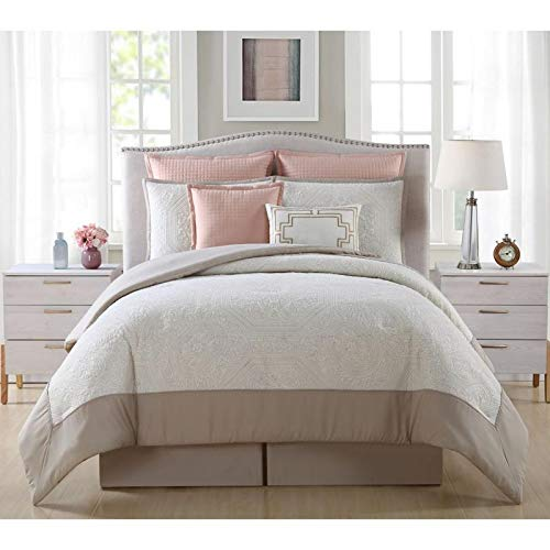 8 Piece Embroidered Medallion Quilted Comforter Set Glam Style Blush Taupe Shades Queen Bedding Set Beautiful Visually Gorgeous Unique Texture Applique Pattern Soft Tan Color Border Bed Skirt Included