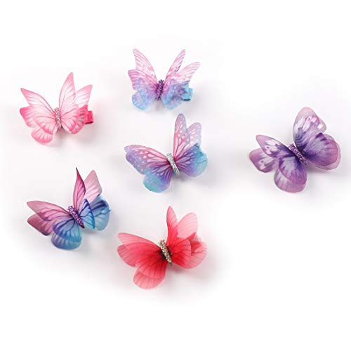 Chiffon Rosette (Rosette Hair Colorful Chiffon Butterfly Modelling Hair Clips- Organza Wings Ribbon Wrapped Clips Sets (6pcs/set-1))