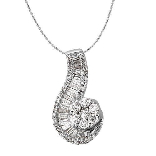 1.29 Carat Natural Diamond 14K White Gold Journey Pendant Necklace for Women