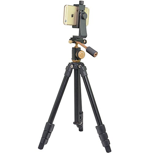 """Riqiorod 50"""" Lightweight Aluminum Alloy Professional Portable Camera Tripod Phone Tripod with 1/4"""" Screw 360 Panoramic Ball Head for Smartphone iPho by Riqiorod (Image #3)"""