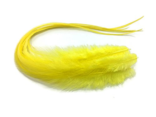 Moonlight Feather, Hair Extension Feathers - Solid Sunshine Yellow Thick Long Rooster Hair Extension Feathers - 7-11 Inches Long - 6 Pieces Per Pack (Rooster Sun)