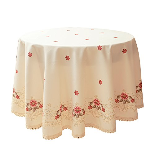 Wewoch Decorative Red Floral Print Lace Water Resistant Tablecloth Wrinkle Free and Stain Resistant Fabric Tablecloths for Round Table 60 Inch by 60 Inch