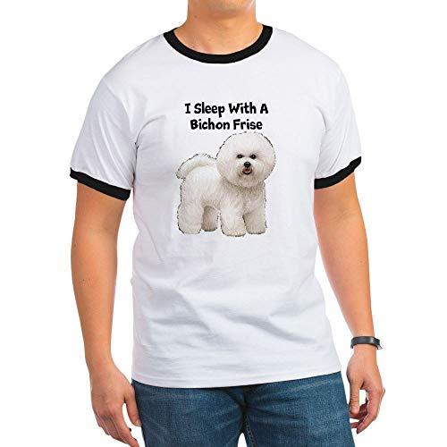 CafePress I Sleep with A Bichon Frise Ringer T-Shirt, 100% Cotton Ringed T-Shirt, Vintage Shirt Black/White