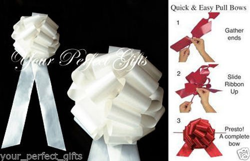 10 IVORY 9'' LARGE WEDDING PULL PEW BOWS BRIDAL SHOWER PB098