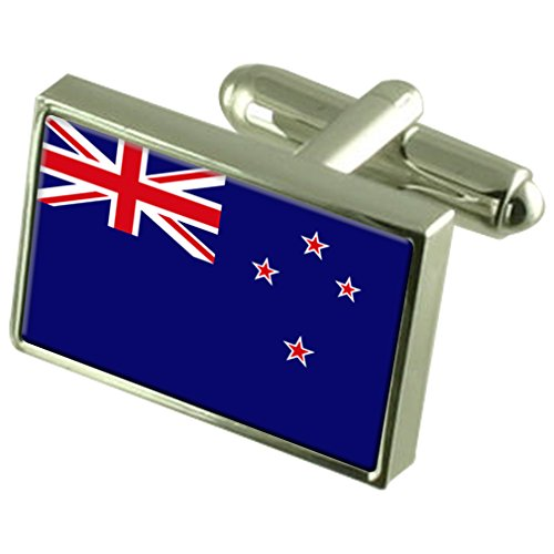New Zealand Sterling Silver Flag Cufflinks by Select Gifts