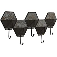 Household Essentials Decorative Entryway Hexagon Pocket Coat Rack, Silver / Bronze Metal