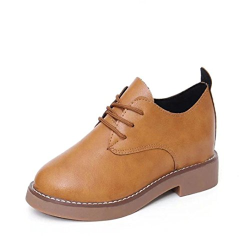 AMA(TM) Women Leather Spring Flat Single Shoes Casual Ankle Boots Brown xnVAx