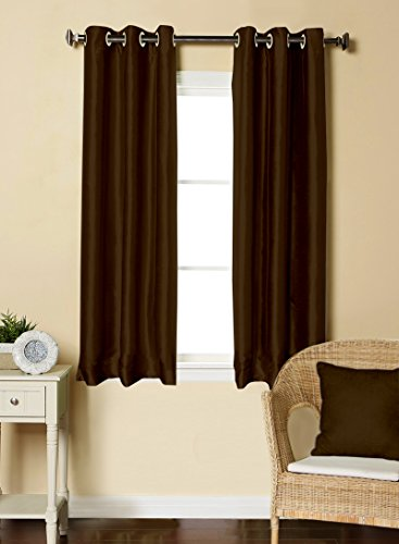 LUSHOMES Brown Dupion Silk Curtain with 6 Plastic Eyelets (Pack of 2 pcs) for Windows