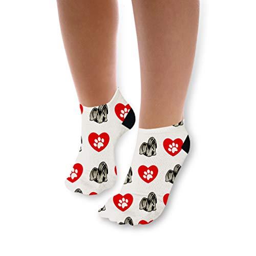 - Lhasa Apso Dog Heart Paws Pattern Unisex Toddler Baby Ankle Socks Funny Novelty Kids Socks Polyester & Polyester Blend - 3 Pack