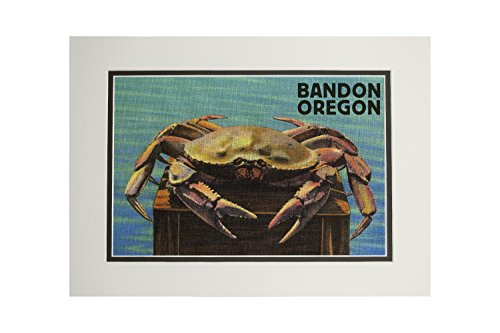(Bandon, Oregon - Dungeness Crab Vintage Postcard (11x14 Double-Matted Art Print, Wall Decor Ready to Frame) )