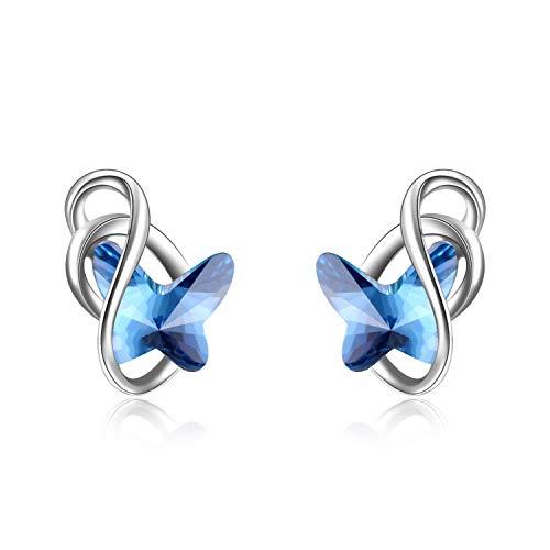 (AOBOCO 925 Sterling Silver Butterfly Earrings with Blue Swarovski Crystals Hypoallergenic Stud Earrings Fine Jewelry Gift for Women Girls)