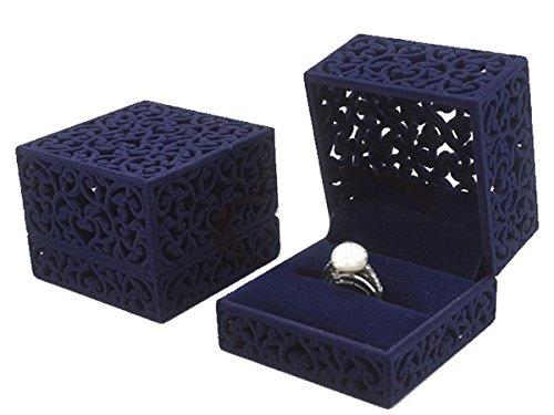 LittleTiger® Pierced Velvet Jewelry Box for ring engagement gift wedding favor (Purple)