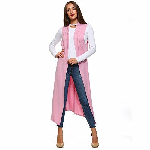 Isaac Liev Women's Sleeveless Lightweight Duster Vest (X-Large, Blush)