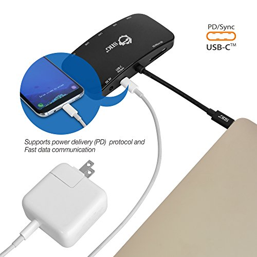 SIIG USB C Dock/Docking Station/Multiport Adapter Hub - Type C to HDMI 4K, Gigabit Ethernet, USB Type C PD(Power Delivery), USB 3.0 Ports, and SD/Micro SD Card Reader for MacBook ChromeBook and more by SIIG (Image #3)