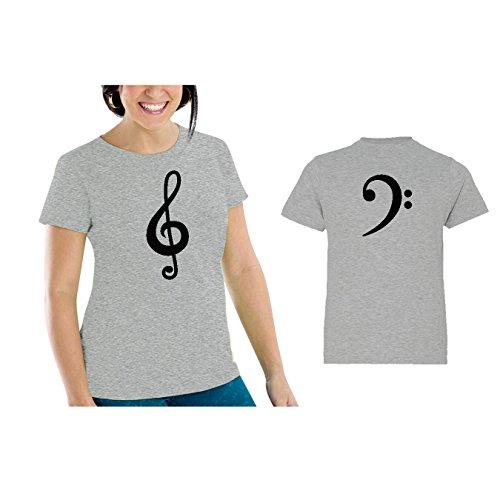 Bass Xl Set (We Match! Treble Clef & Bass Clef Women's Scoop Neck & Children's Matching T-Shirt Set (Youth Large, Women's Cut XL, Sport Grey))