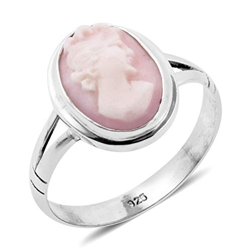 925 Sterling Silver Oval Cameo Cameo Fashion Ring For Women Size 9
