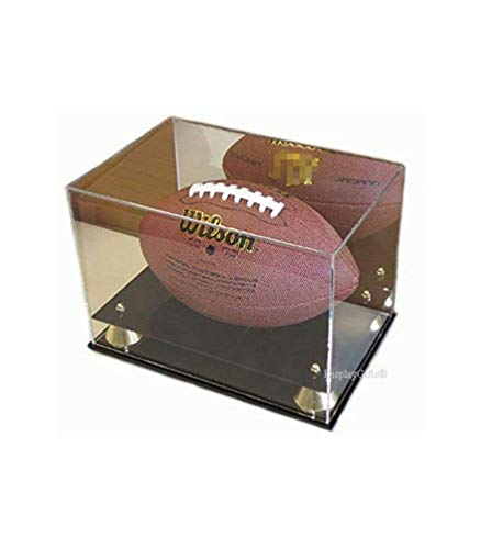 flag connections Deluxe UV Acrylic Full Size Football Display Case Stand with Mirror, Riser Stand, ACFB18M